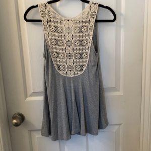 🌺3 for$20 Alter'd state grey/ivory crochet back